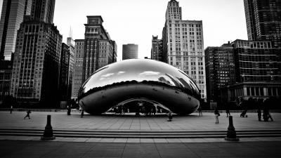 Monochrome Chicago Cloud Gate Wide Wallpaper 62924