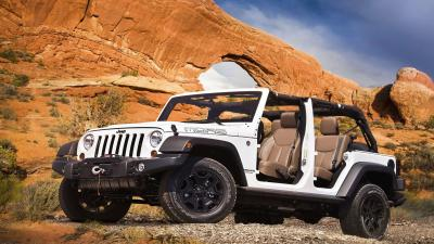 White Jeep Wrangler Off Roading Wide Wallpaper 65142