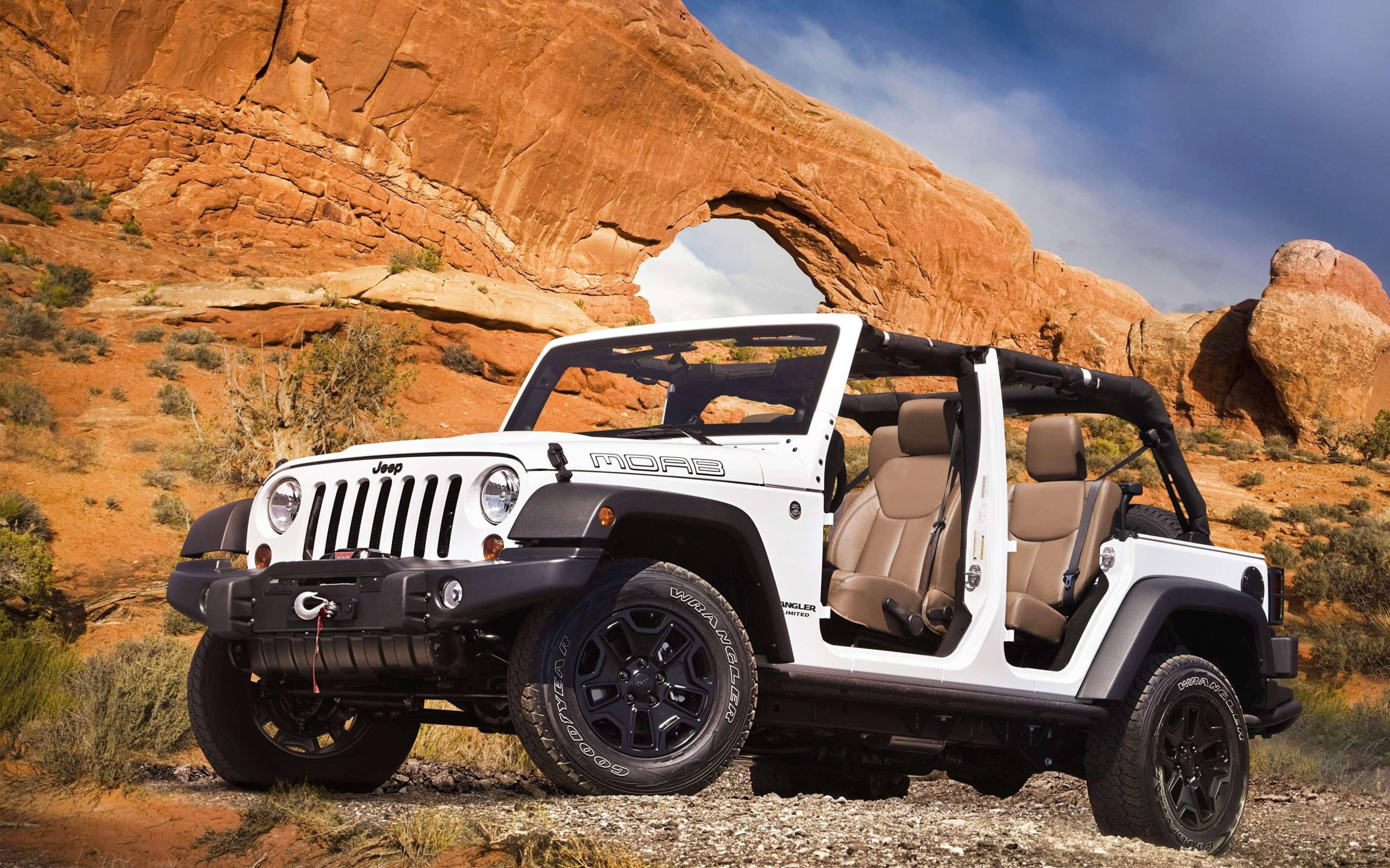 white jeep wrangler off roading wide wallpaper 65142