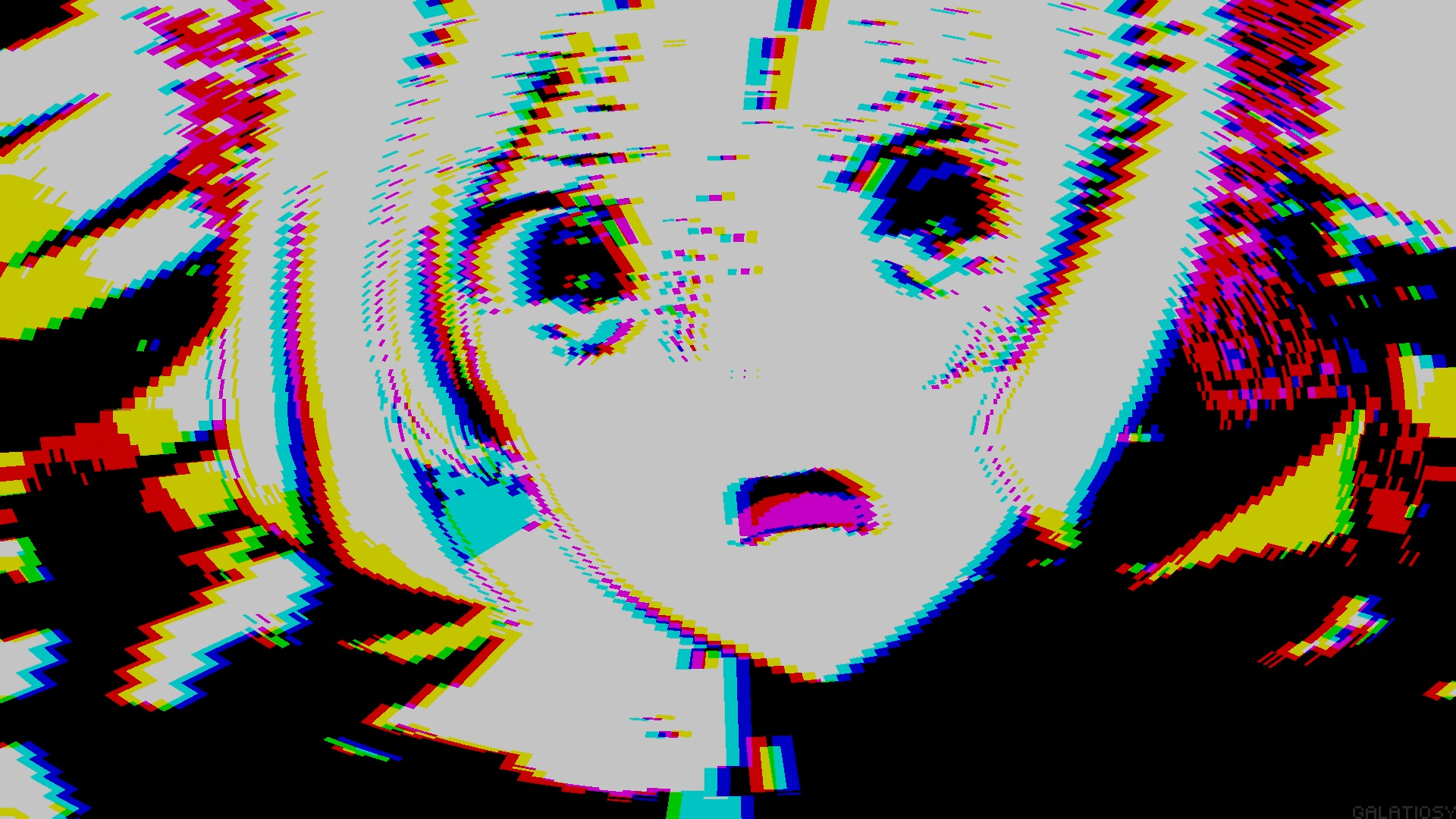 cute anime girl hd pixel glitch background 65769