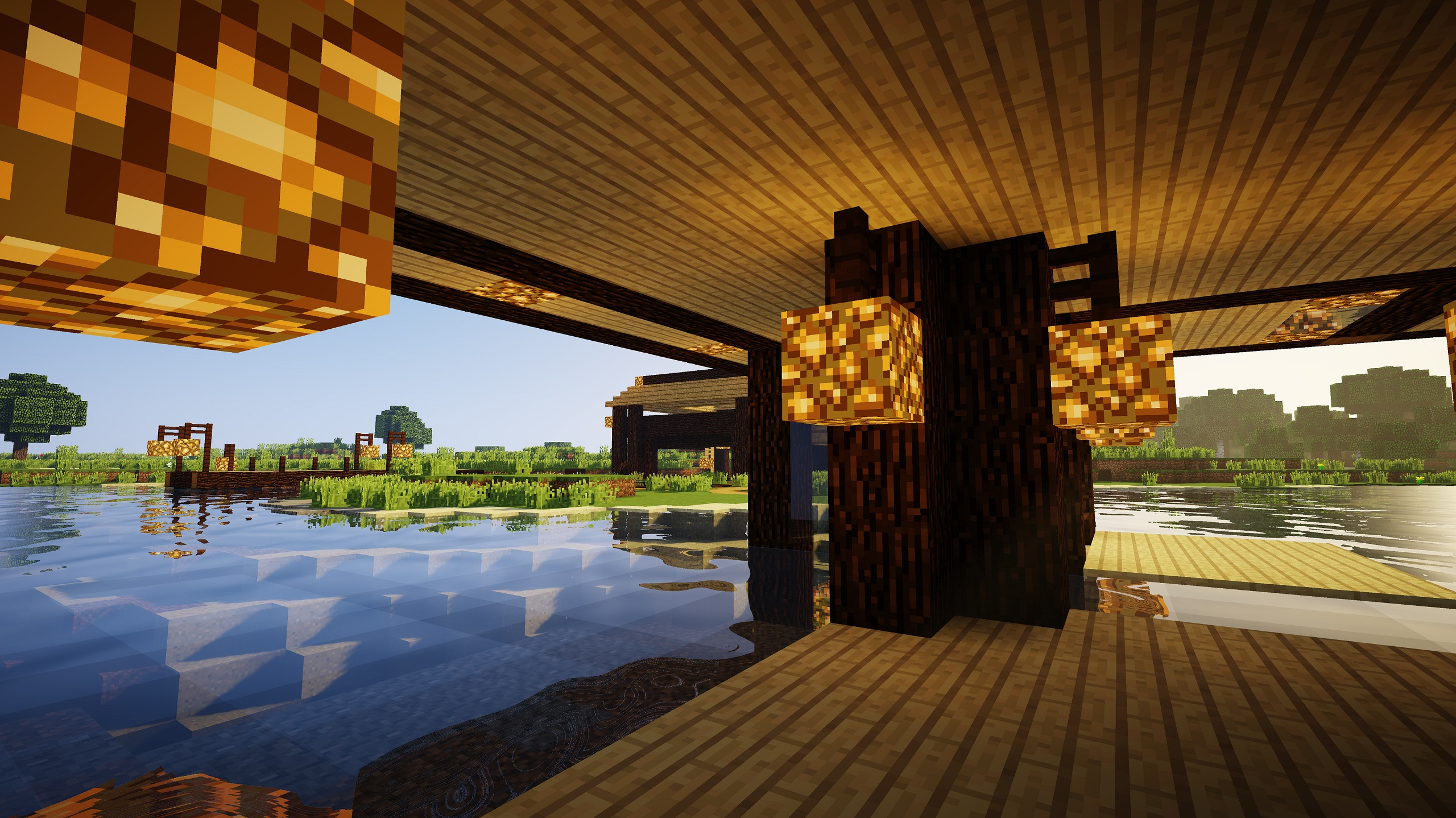 minecraft daylight riverside wood house 63241