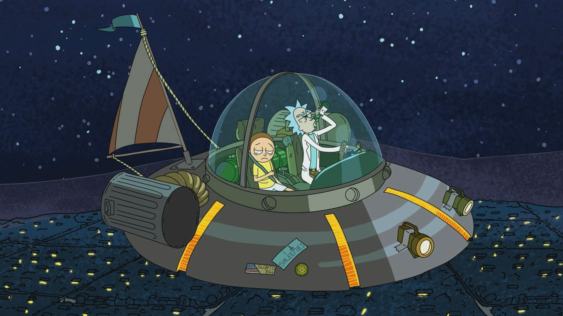 rick and morty spacecraft wallpaper 63923