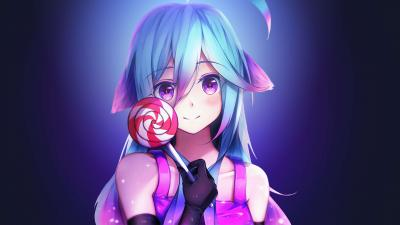 Anime Girl Lollipop Wallpaper Background 64499