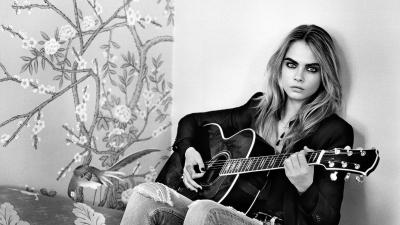 Monochrome Cara Delevingne Guitar Wallpaper 64668