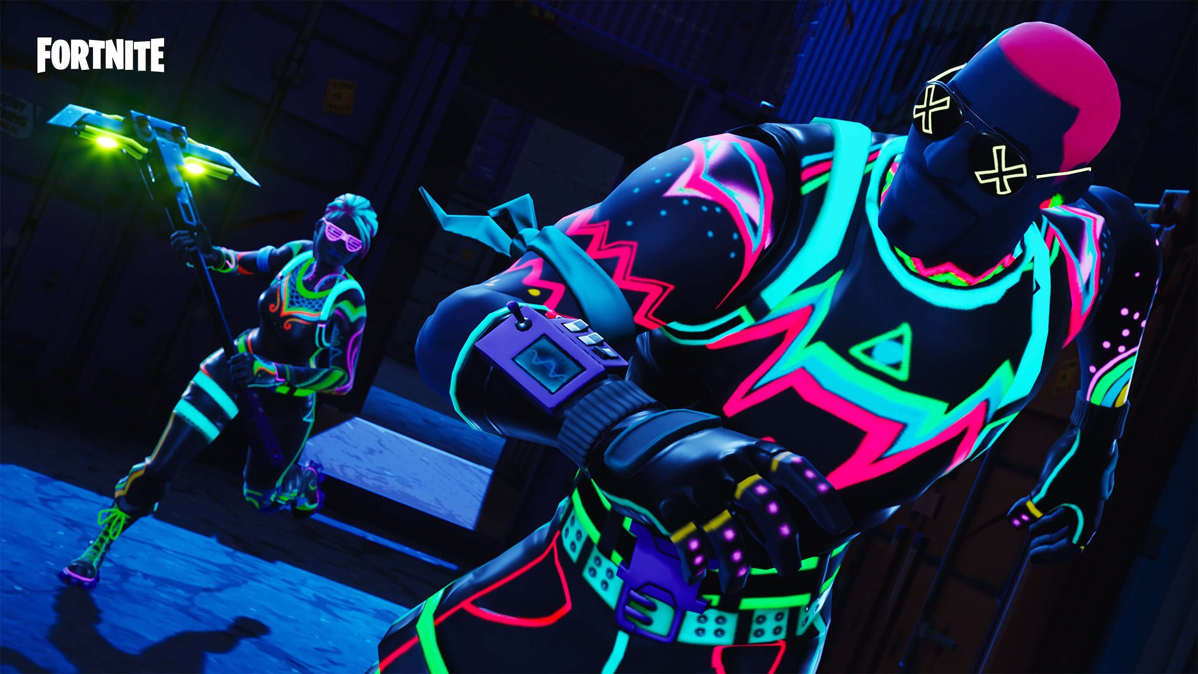 fortnite neon skins widescreen wallpaper 64051