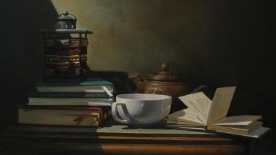 Tea and Books Art Wallpaper Background 62734