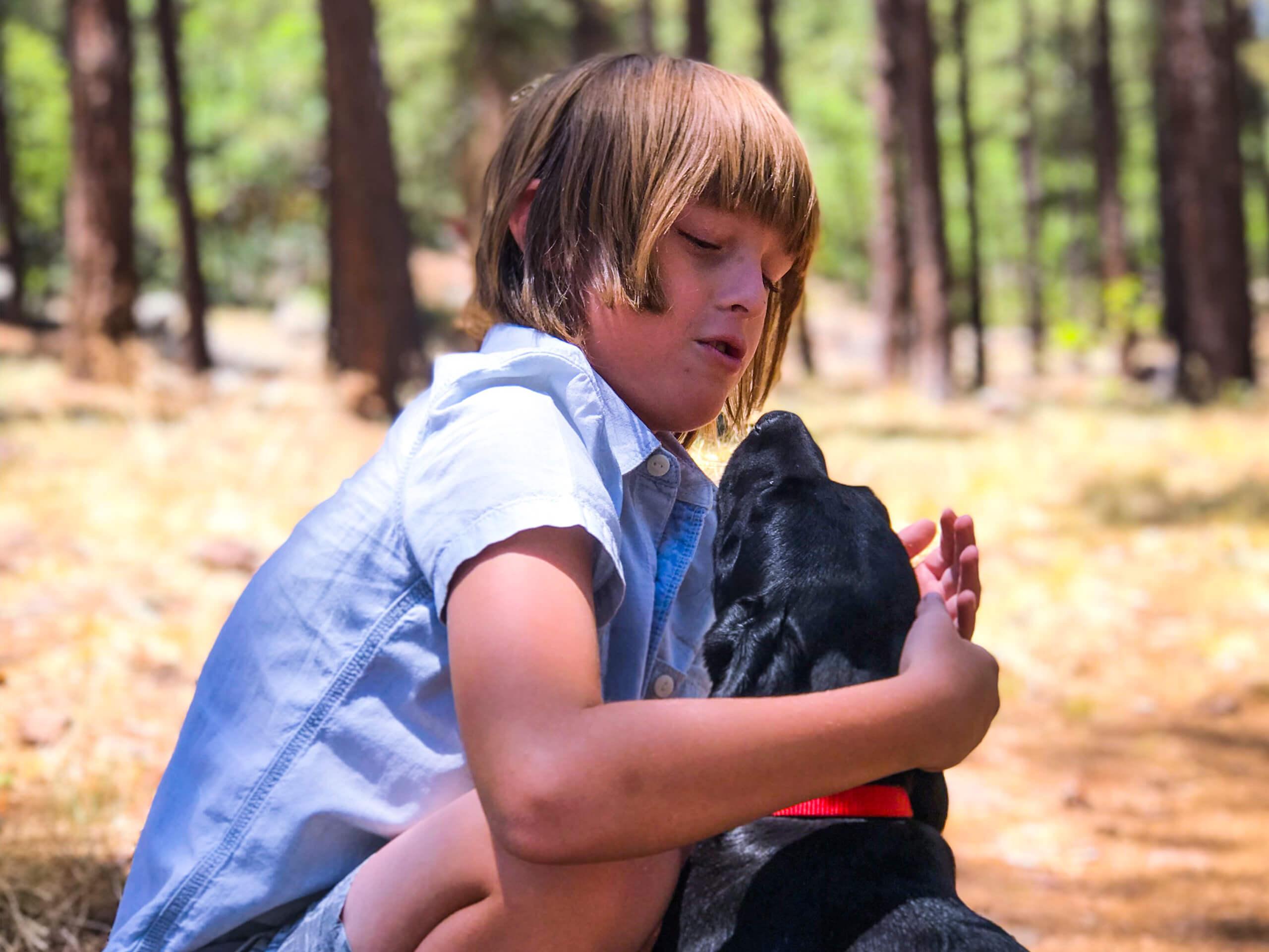 black labrador retriever puppy and boy wide wallpaper 64245