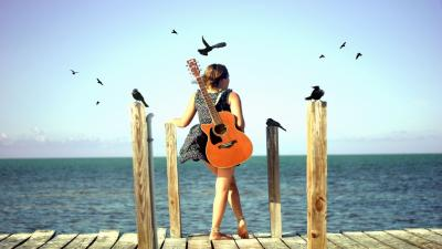 Cute Guitar Woman Wallpaper 66469