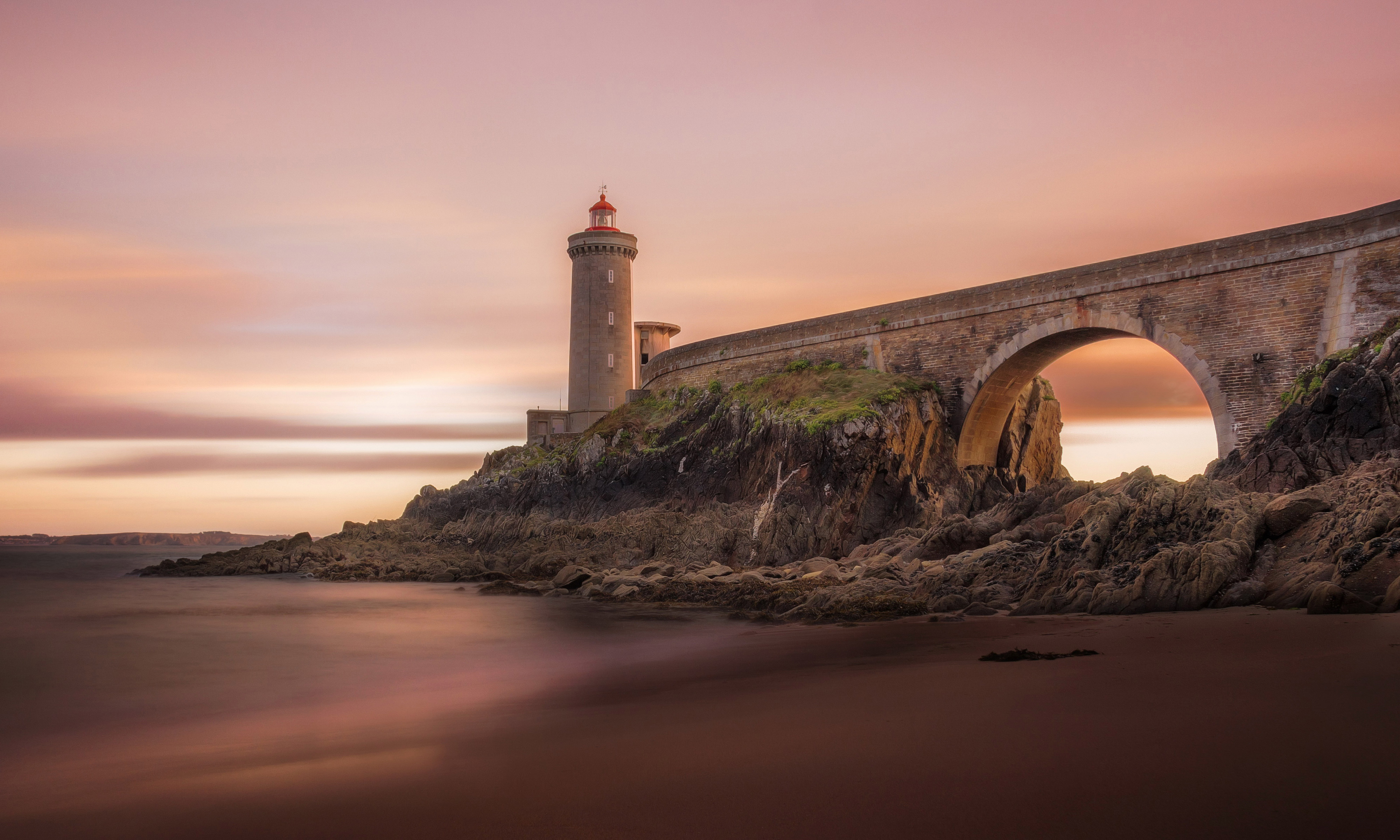 4k lighthouse bridge background wallpaper 65377