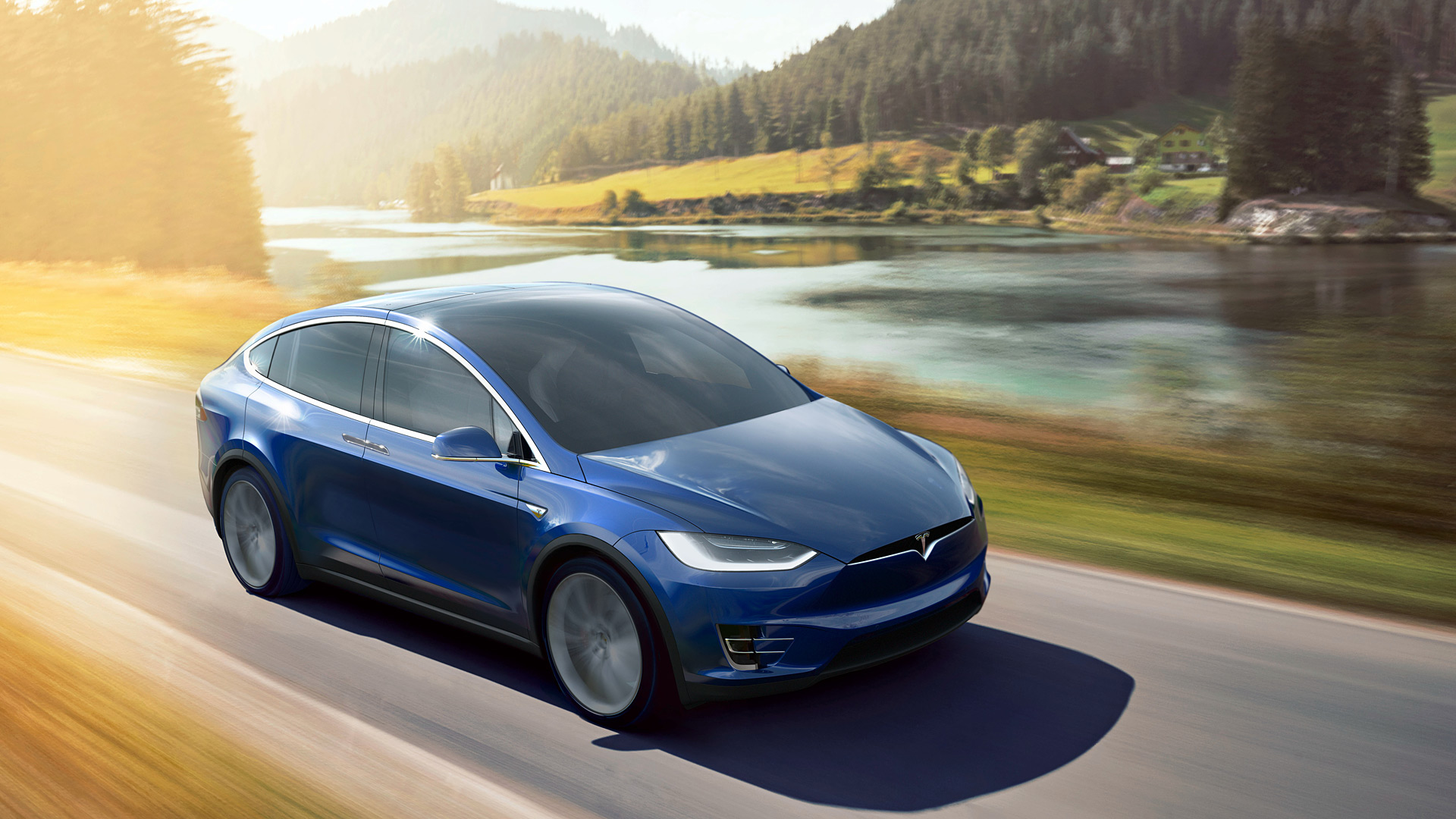 blue tesla model x wallpaper 66053