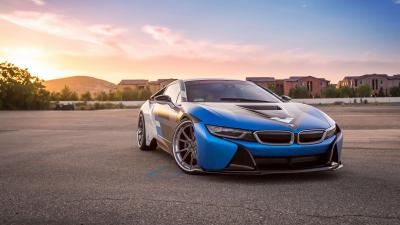 Blue Widescreen BMW i8 Wallpaper 64658