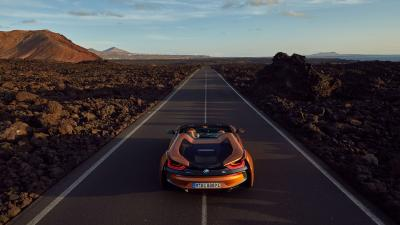 BMW i8 Open Road Background Wallpaper 64652