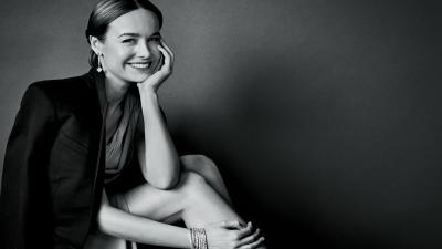 Monochrome Brie Larson Smile Wallpaper 65114