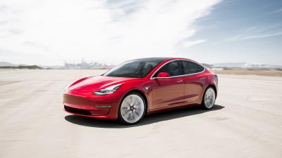 Red Tesla Model 3 Wide Wallpaper 66039
