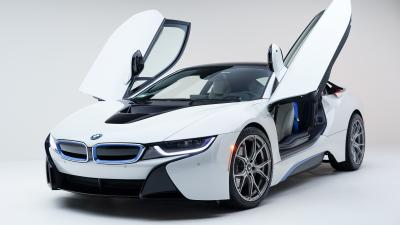 White BMW i8 Wide Wallpaper 64659