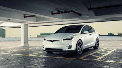 White Tesla Model X Car Wide Wallpaper 66052