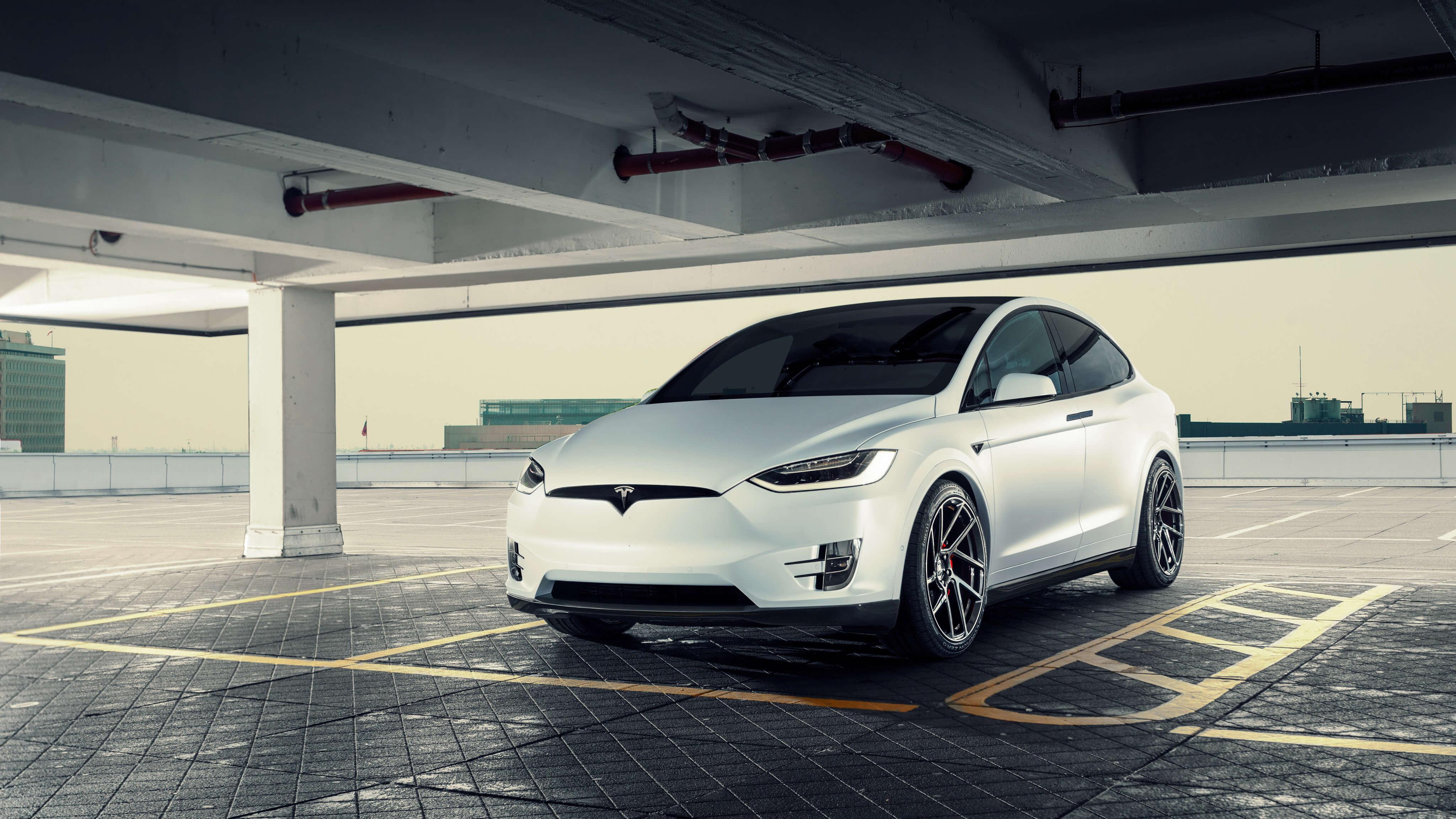 white tesla model x car wide wallpaper 66052