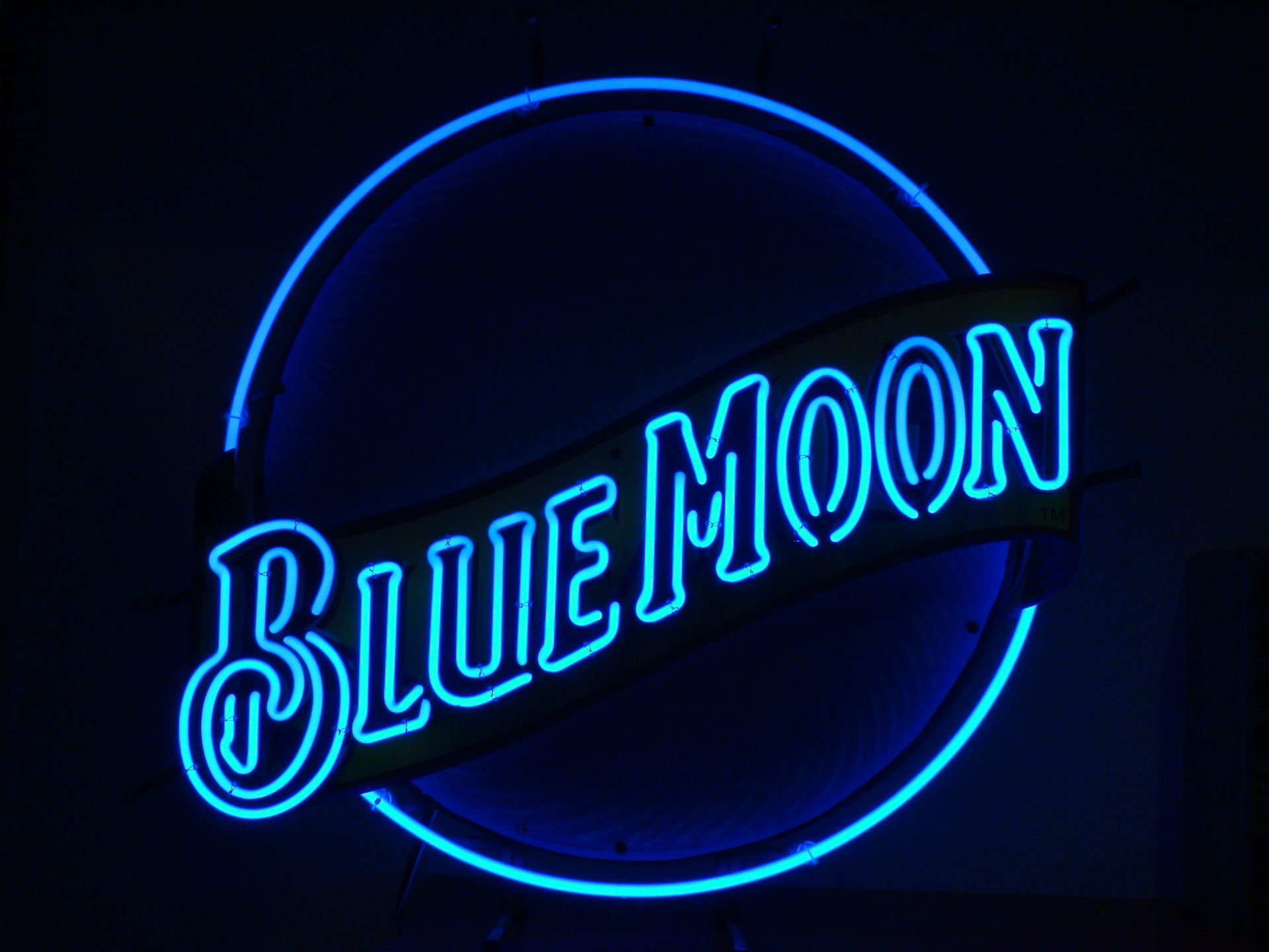 blue moon neon sign wallpaper 66621