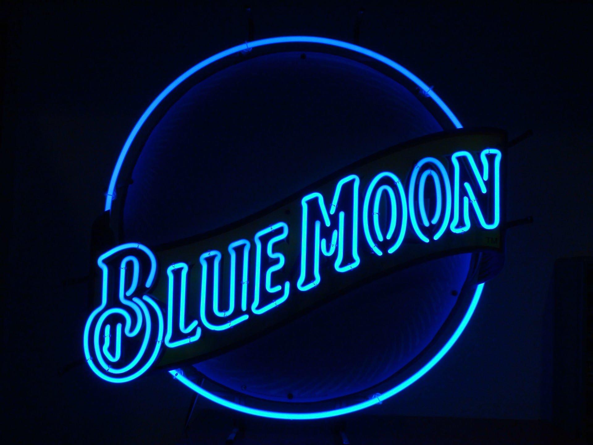 blue moon neon sign wallpaper 66621