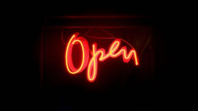 Cursive Open Neon Sign Wallpaper 66624