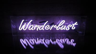 Wanderlust Neon Sign Wallpaper 66622