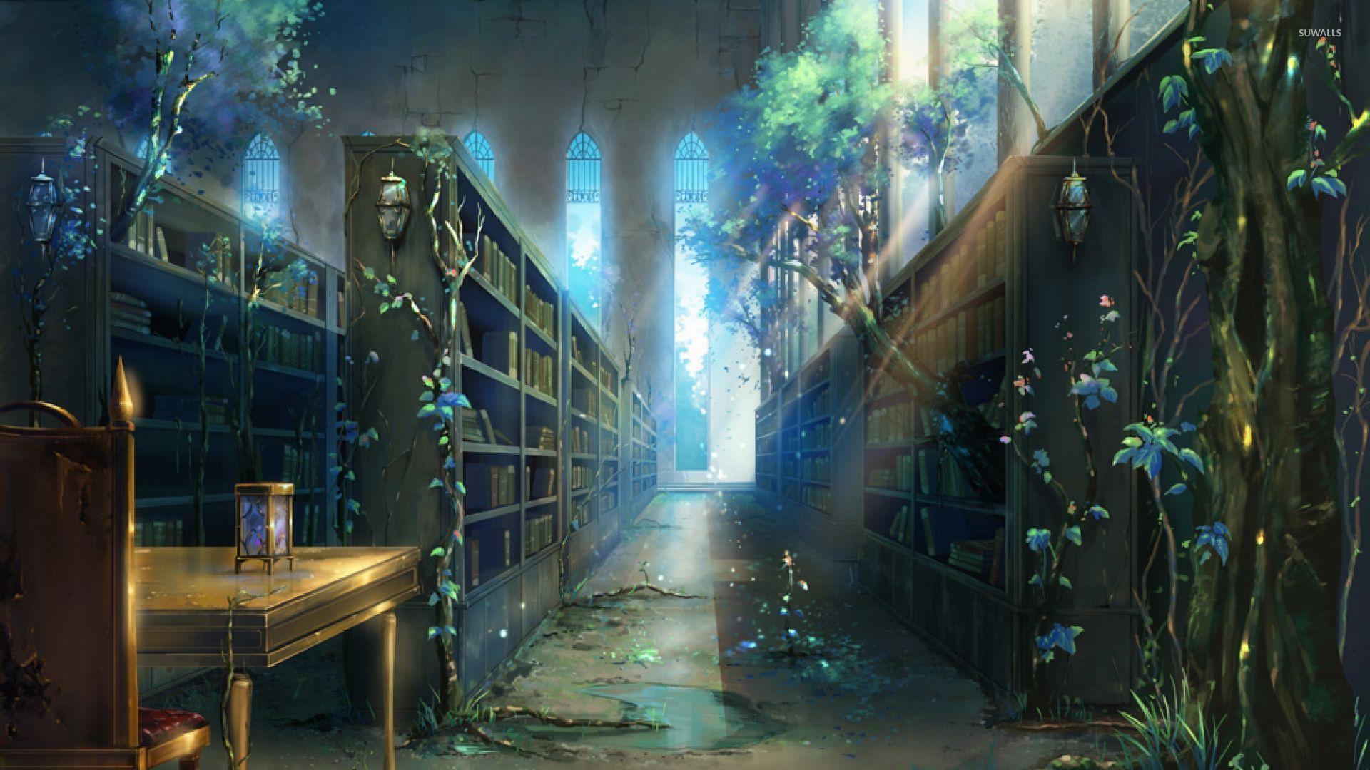 abandoned fantasy library wallpaper 67428