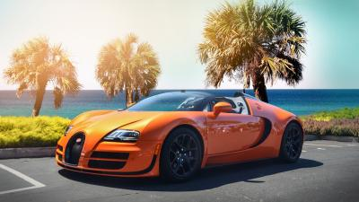 Orange Bugatti Desktop Wallpaper 67194