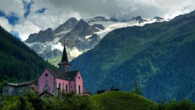 Pink Church Background Wallpaper 72523