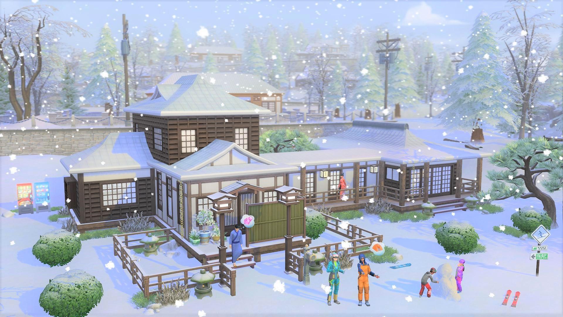 the sims 4 snowy escape cabin wallpaper 73083