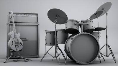 3D Guitar and Drums Wallpaper 73524