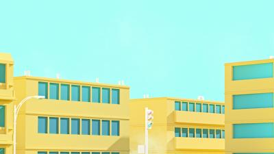 Simple Yellow Building Art Wallpaper 73598