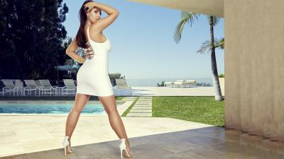 Angela White Sexy White Dress Woman Hot Background HD Wallpaper 72806